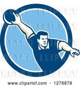 Vector Clip Art of Retro Male Bowler Pointing His Finger and Holding a Ball in a Blue and White Circle by Patrimonio