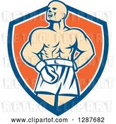 Vector Clip Art of Retro Male Boxer Champion Shouting in a Blue White and Orange Shield by Patrimonio