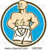 Vector Clip Art of Retro Male Boxer Champion Shouting in a Brown White and Blue Circle by Patrimonio