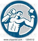 Vector Clip Art of Retro Male Boxer in a Blue Gray and White Circle by Patrimonio