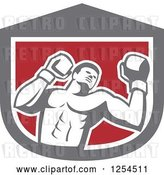 Vector Clip Art of Retro Male Boxer in a Gray White and Red Shield by Patrimonio