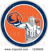 Vector Clip Art of Retro Male Boxer Punching in a Blue and Orange Circle by Patrimonio