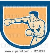 Vector Clip Art of Retro Male Boxer Punching in a Blue White and Orange Shield by Patrimonio