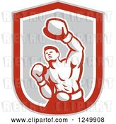 Vector Clip Art of Retro Male Boxer Punching in a Gray and Red Shield by Patrimonio