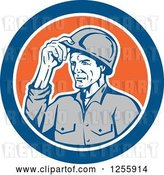 Vector Clip Art of Retro Male Builder Tipping His Hardhat in a Blue and Orange Circle by Patrimonio