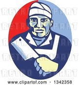 Vector Clip Art of Retro Male Butcher Holding a Meat Cleaver in a Red and Blue Oval by Patrimonio