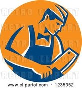 Vector Clip Art of Retro Male Butcher Holding a Meat Cleaver Knife in a Blue and Orange Circle by Patrimonio