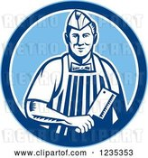 Vector Clip Art of Retro Male Butcher Holding a Meat Cleaver Knife in a Blue Circle by Patrimonio