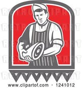 Vector Clip Art of Retro Male Butcher Holding Meat by Patrimonio