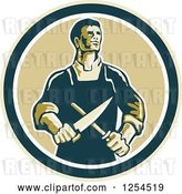 Vector Clip Art of Retro Male Butcher Sharpening a Knife in a Circle by Patrimonio