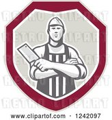 Vector Clip Art of Retro Male Butcher with a Knife in a Shield by Patrimonio