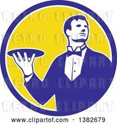 Vector Clip Art of Retro Male Butler Holding a Plate Inside a Blue White and Yellow Circle by Patrimonio