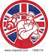 Vector Clip Art of Retro Male Cable Guy with a Coaxial Cable in a British Flag Circle by Patrimonio