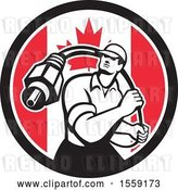 Vector Clip Art of Retro Male Cable Guy with a Coaxial Cable in a Canadian Flag Circle by Patrimonio