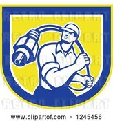 Vector Clip Art of Retro Male Cable Guy with a Coaxial Cable in a Shield by Patrimonio