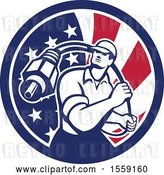 Vector Clip Art of Retro Male Cable Guy with a Coaxial Cable in an American Flag Circle by Patrimonio