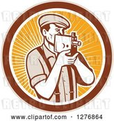 Vector Clip Art of Retro Male Camera Guy Filming in a Tan Brown White and Orange Ray Circle by Patrimonio
