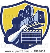 Vector Clip Art of Retro Male Cameraman Filming and Holding a Clapper in a Blue White and Yellow Shield by Patrimonio