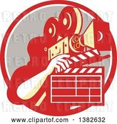 Vector Clip Art of Retro Male Cameraman Filming and Holding a Clapper in a Red White and Taupe Circle by Patrimonio