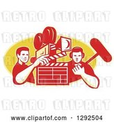 Vector Clip Art of Retro Male Cameraman Filming and Holding a Clapper, with a Boom Guy over a Yellow Oval by Patrimonio