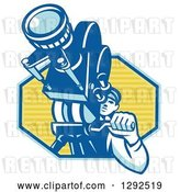 Vector Clip Art of Retro Male Cameraman Filming in a Blue and Yellow Hexagon by Patrimonio