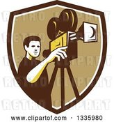 Vector Clip Art of Retro Male Cameraman Filming in a Brown White and Tan Shield by Patrimonio