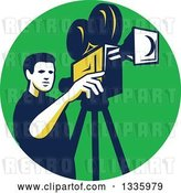 Vector Clip Art of Retro Male Cameraman Filming in a Green Circle by Patrimonio