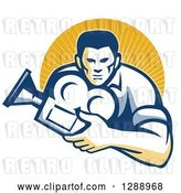 Vector Clip Art of Retro Male Cameraman Holding a Camera and Emerging from a Circle of Sunshine by Patrimonio
