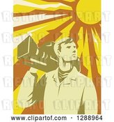 Vector Clip Art of Retro Male Cameraman Holding a Camera on His Shoulder Under a Blazing Sun by Patrimonio