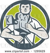 Vector Clip Art of Retro Male Cameraman in a Gray White and Green Circle by Patrimonio