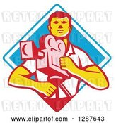 Vector Clip Art of Retro Male Cameraman in a White and Blue Diamond by Patrimonio