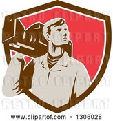 Vector Clip Art of Retro Male Cameraman Looking to the Side and Emerging from a Brown White and Red Shield by Patrimonio