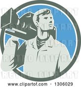 Vector Clip Art of Retro Male Cameraman Looking to the Side and Emerging from a Green White and Blue Circle by Patrimonio