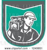 Vector Clip Art of Retro Male Cameraman Recording in a Green and Gray Shield by Patrimonio