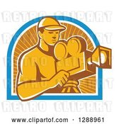 Vector Clip Art of Retro Male Cameraman Working in a Blue White and Orange Sun Ray Arch by Patrimonio