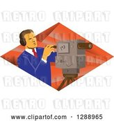 Vector Clip Art of Retro Male Cameraman Working in a Diamond of Rays by Patrimonio