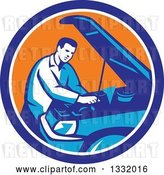 Vector Clip Art of Retro Male Car Mechanic Working on an Automobile in a Blue White and Orange Circle by Patrimonio