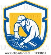 Vector Clip Art of Retro Male Car Mechanic Working on an Automobile in a Shield by Patrimonio