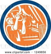 Vector Clip Art of Retro Male Car Mechanic Working Under an Automobile in a Circle by Patrimonio