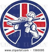 Vector Clip Art of Retro Male Carpenter Carrying Lumber and Giving a Thumb up in a Union Jack Flag Circle by Patrimonio