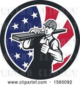 Vector Clip Art of Retro Male Carpenter Carrying Lumber and Giving a Thumb up in an American Flag Circle by Patrimonio