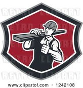 Vector Clip Art of Retro Male Carpenter Carrying Lumber in a Shield by Patrimonio