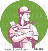 Vector Clip Art of Retro Male Carpenter Holding a Brush and Hammer over a Green Circle by Patrimonio