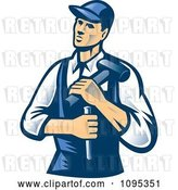 Vector Clip Art of Retro Male Carpenter Holding a Chisel and Hammer by Patrimonio