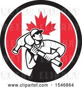 Vector Clip Art of Retro Male Carpenter Holding a Giant Hammer in a Canadian Flag Circle by Patrimonio
