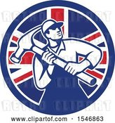 Vector Clip Art of Retro Male Carpenter Holding a Giant Hammer in a Union Jack Flag Circle by Patrimonio