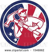 Vector Clip Art of Retro Male Carpenter Holding a Giant Hammer in an American Flag Circle by Patrimonio