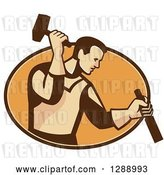 Vector Clip Art of Retro Male Carpenter Holding a Hammer and Chisel in a Brown and Orange Oval by Patrimonio