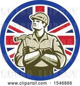 Vector Clip Art of Retro Male Carpenter Holding a Hammer in a Union Jack Flag Circle by Patrimonio