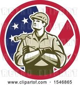 Vector Clip Art of Retro Male Carpenter Holding a Hammer in an American Flag Circle by Patrimonio